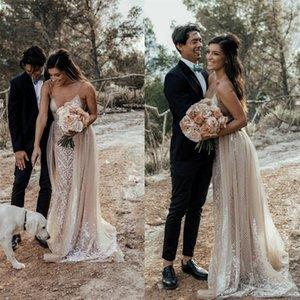 2020 Spaghetti Country Wedding Dresses Lace Overskirt Bohemian vestido de novia Sexy Beach Bridal Gowns Wedding Dress