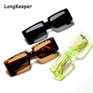 Clear Green Narrow Rectangle Sunglasses Shades Women Brand Designer Men Vintage Rectangular Frame 90S Trendy 2020 Sun Glasses dwtQz
