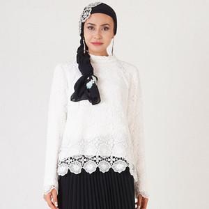 Élégant Blouses musulmans et chemises femmes manches longues en dentelle talonnage Hauts Bureau Mesdames printemps évider Dubai Islamic Clothing