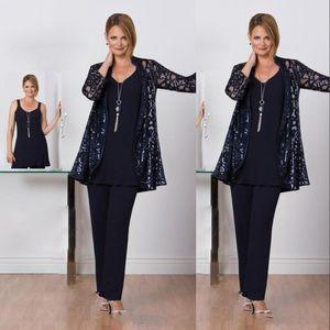 Nova Mãe Off Noiva Vestidos Pant ternos azuis marinhos mangas compridas Chiffon Plus Size Três peças personalizadas Convidado de Casamento Evening Vestidos Com Jacket