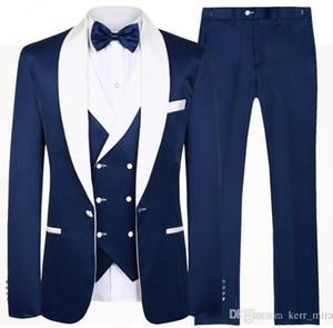 2020 Пользовательские мяса Две кнопки Royal Blue Groom Tuxedos Пик нагрудные Groomsmen шафером Костюмы мужские свадебные костюмы (куртка + брюки + жилет + галстук-бабочка)