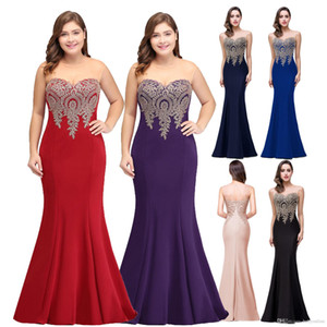 Plus Size Mermaid Evening vestido dourado apliques Longo Formal Partido Mulheres Prom Vestidos Robe De Soiree Longue CPS262