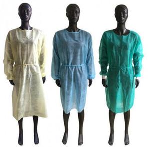 Isolamento Proteção Non Woven vestidos descartáveis PP protecção vestuário anti poeira Coveral roupa de funcionamento Unisex Aventais LJJP8