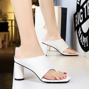 AGUTZM 8cm Womens verão Salto Alto Chinelo Mulher couro branco Praça Peep Toe Sandals Senhoras Sandal Shoe Bombas Chaussure m22