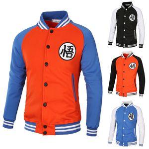 Casaco do uniforme Cores misturadas 2017 New Style-Men Goku New Style Raglan Sleeve Hoodie Baseball Brasão