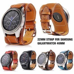 NUEVA 22mm cuero auténtico venda de reloj del reemplazo de la correa de correa de reloj pulsera para Samsung Galaxy reloj de 46 mm / engranaje S3 Frontier