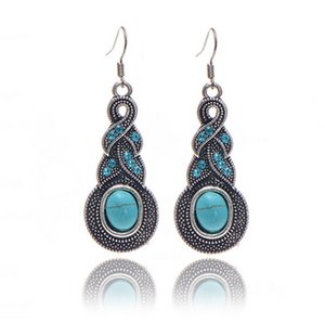Ms Europe and America trend fashion Earrings Punk Retro earring crystal Turquoise temperament Stud earring Ear hook factory Outlet