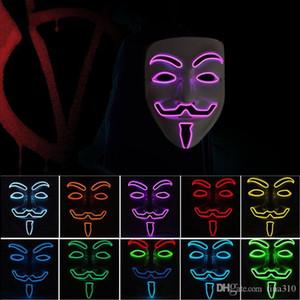 10 color V for Vendetta Masks LED glow mask Halloween mask party masquerade dance decorated masks T3I5261
