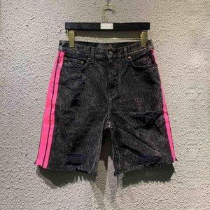 20SS люкс европейского Полосатый Омывается джинсы Мода High Street Vintage Shorts Пара Дизайнер Женщины Mens высокого качества Короткие штаны HFXHDK006