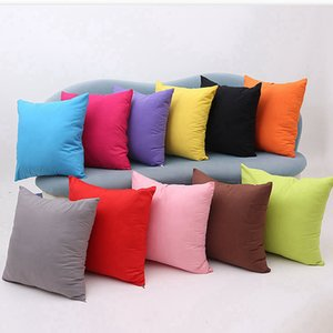 Home Decor Throw Pillow Case Square Pure Color Polyester Cushion Cover Sofa Waist Cushion Pillowcase DDA28