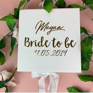 Personalised Real Foil Hen Party, Batchlorette Party, Veil, Garter Bride Sash Gift for the Bride, Wedding Box, Bridal gift box
