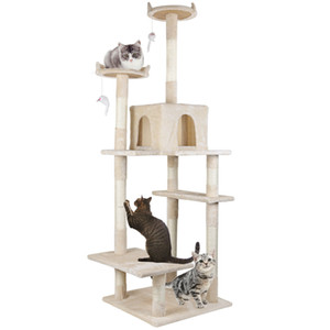 Cat Kitty Tree Tower Condo Furniture Scratch Post Pet Home Bed Beige