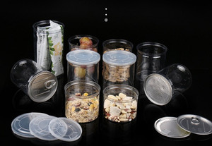 chiara vaso di plastica PET con coperchio in metallo alimentare Contenitori easy open lattina plastica con anello a strappo