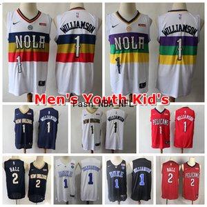 2020 Nueva cosido 1 SionWilliamson OrleansPelícanos NCAA Hombres Jóvenes Niños 1 2 Williamson # Lonzo bola camiseta de baloncesto swingman