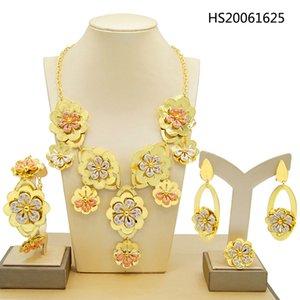 Yulaili 2020 Fashion Elegant Flower Necklace Jewelry Sets High Quality Lucency Crystal Dubai Bride Wedding Gold Jewelry Accessories