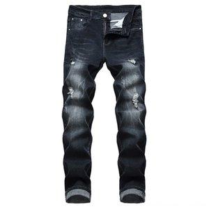 Cotton Men Spring 2019 Men Clothes y Men's Jeans Men's Clothing Biker Destroyed Taped Slim Fit Denim Pants Casual Trousers Stretch Ripped Je