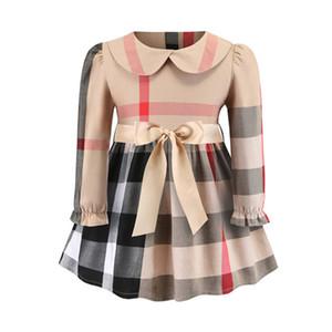 Meninas Designer Spring Dress Nova Moda Doce vestido listrado Plaid Casual britânica manga comprida bonito Luxo Estilo Roupa Roupa das Crianças