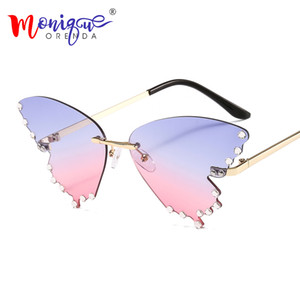 Borboleta Óculos Mulheres Homens Moda aro Chama Sun Vidro Pedrinhas Espelho Cat Eye Eyewear UV400 Oculos Masculino