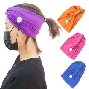 Maske Stirnband Knopf Anti-Anzugsmaskenhalter Headwrap Protect Ears Maskenband Extender Headwear Haar-Band-Yoga Kopftuch GGA3348-1