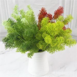 Piante artificiali 7-forchetta verde / bianco / giallo / bianco filiale fogli di plastica Klimop Erba per la decorazione esterna del giardino Falso Plante