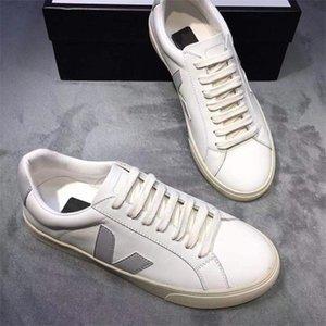 Nuovo Mens Veja V-10 Pelle Extra scarpe da tennis delle donne in pelle di vitello ESPLAR Formatori Moda Bianco Low-top Scarpe traspirante Scarpe da corsa US4-11
