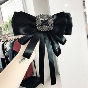 Мода ретро шелковый атлас Bowkont воротник Tie площади Rhinestone Большой вырез Pins Броши девушки платье рубашка воротник Pin Bow Tie Accessorie