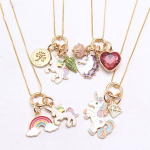 Mode arc-en-Coeur conque Licorne Pendentifs Collier Enfant Fille Charme Pendentif longue chaîne Collier Bijoux mignon pour enfants JewelryZ0751