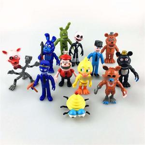 12pcs / lotto FNAF Bonnie Foxy Chica Freddy Fazbear cinque notti in azione Freddys PVC bambole figura giocattoli per i bambini Brithday regali