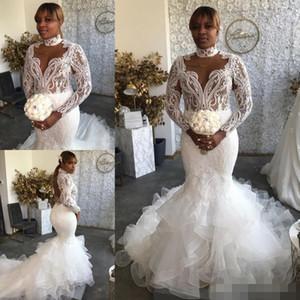 2020 플러스 사이즈 인어 Weddig 드레스 높은 칼라 레이스 새해 계층 스커트 섹시한 등이없는 Pluning 사용자 정의 긴 소매 웨딩 신부 드레스