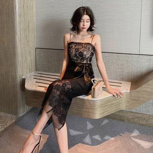 Sexy dress 2020 cross border new women's dress one line off shoulder lace up slim lace suspender skirt 1807