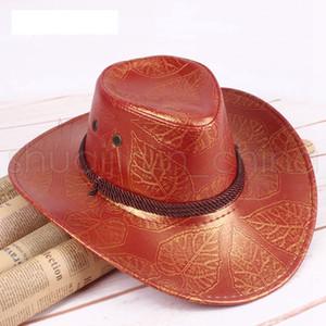 Мода Широкий Брим Шляпы Мужчины Женщины путешествия ВС затенение Cap Причинная Summer Western Cowboy Hat печати дышащий TTA1415-14