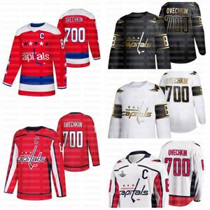 8 Alexander Ovechkin 700 Tore Washington Capitals Heim Red Auswärts Weiß Goldene limitierte Black White Jersey