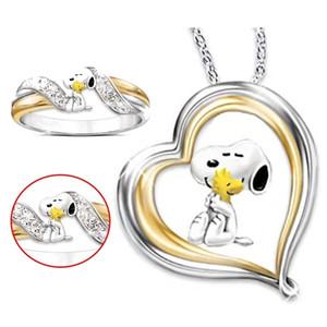 Klasik Snoopy çizgi film şekillendirme yavrusu 18k sarı altın kaplama Yüzük / Kolye Arkadaş Hediyeler için Sevimli Karikatür Köpek İki Ton Büyüleyici Boyut 6-10