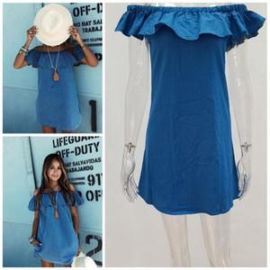 Imitation Denim Dresses Solid Color Off Shoulder Shirt Skirt Sleeveless Women Soft High Quality Womens Home Clothes 15xx E1
