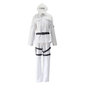 Cells At Work Cosplay Costume Hataraku Saibou White Blood Cell WBC Lukocyte Uniform Full Set (Tops+Pants+Belt+Hat)