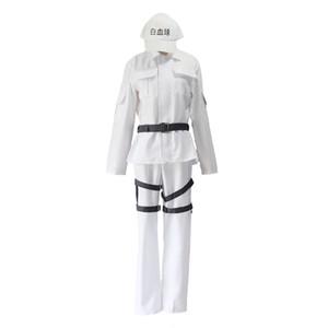 Cells At Work Cosplay Costume Hataraku Saibou White Blood Cell WBC Lukocyte Uniform Full Set (Tops+Pants+Belt+Hat)