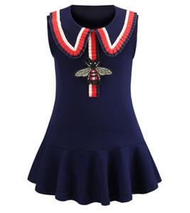 Европейская и американская детская одежда Лето 2019 New Girls'Collar College Wind Roman Хлопковый жилет Юбка Хлопковые платья для девочек