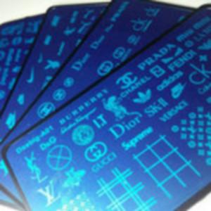 6style Big LO GO Marca Palavras Projetos do molde Nail Art XL Stamping Placa Stamp Imagem francesa Full Metal estêncil Transferência polonês impressão DIY NOVO