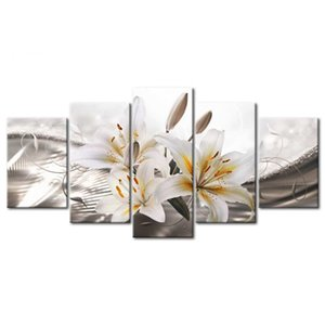 Unframed Lily Pattern painting On Wall On Oil Canvas Bedroom Sofa Background Wall Art Deco Study Canvas Painting