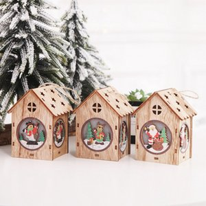 Christmas Decorations Cute Luminous Small Wooden House Hanging Decoration For Christmas Tree Fashion
