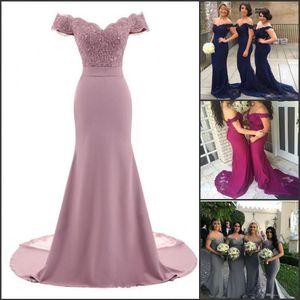 Polvoriento rosa rosa vestidos de dama de honor sirena floral encaje aplique con cuentas con cuello en v boda vestido de noche vestido de hombro dama de honor vestido
