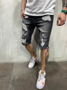 Longitud del diseñador del Mens rasgado gris Jeans Jeans la rodilla color sólido cortocircuitos rectos mediados de cintura cierre de cremallera Pantalones cortos
