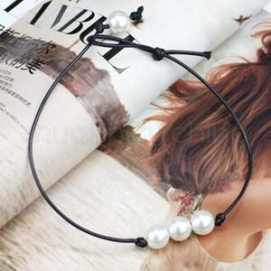 Kadınlar Moda İnci kolye Lady Seyahat Takı El yapımı deri Halat İnci kolye Chokers Nedensel Kız Parti Takı TTA-1110