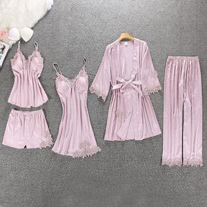 QWEEK Sexy Women Pajamas 5 Pieces Sets Satin Sleepwear Pijama Silk Home Wear Embroidery Sleep Lounge Pyjama with Chest Pads CX200606