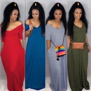 Женщины сексуальные с плеча чистый цвет свободные с длинным рукавом разрез боковой бантом повседневная свободная длинная футболка макси платье Повседневные платья