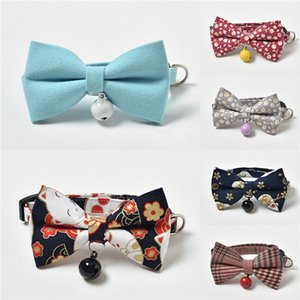 Flowers Style Pet Bowknot Collar Cute Dog And Cat Fashion Neck Decorate Grid Small Bloom Print Dog Collars & Leashes Sets #351