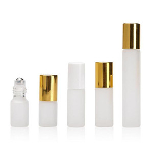 3ML 5ML 10ML Refillable Empty Frosted Glass Roller Bottles Eseential Oil Container with Stainless Steel Roller Ball and Gold Cap LX2295