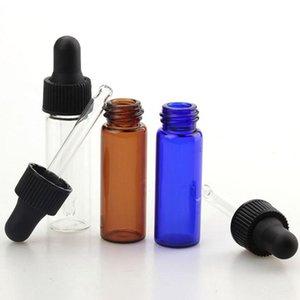 E Sıvı ile Siyah Kapaklar 3000pcs / lot 4 mi Cam Damlalık Şişeler Şeffaf Amber Mavi Cam Numune Şişesi Flakon