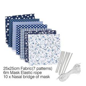 Máscaras DIY caseiro Máscara de poeira máscara materiais impressos Tecido de costura com a orelha corda elástico corda DIY Máscara Kit 100set T1I2013