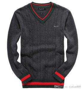 2019 nuevo bordado de lujo de los hombres de los suéteres del ocio suéter suéteres de alta calidad de la manga larga suéter tejido de punto jersey de color sólido sh
